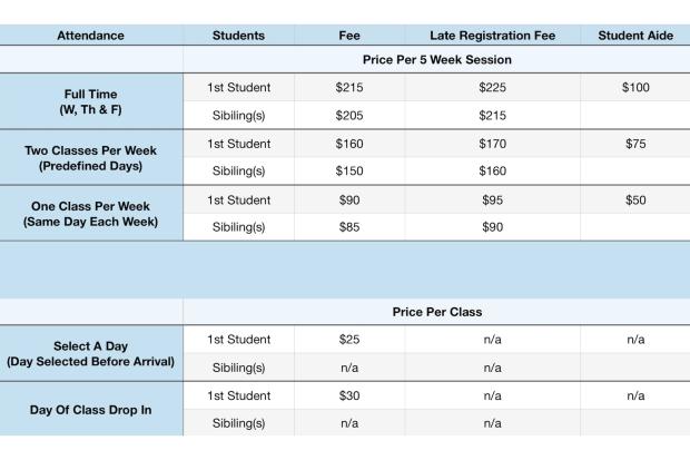Homeschool Enrichment Pricing
